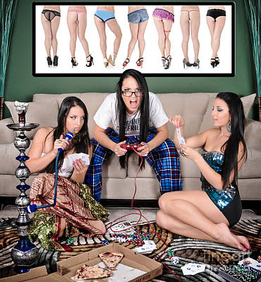Slumber Party Composite Of 10 Photos Of 1 Woman Poster by Jt PhotoDesign