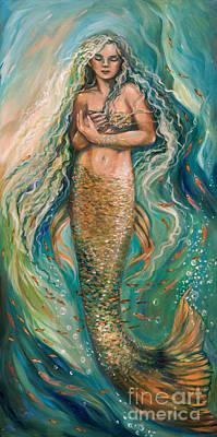 Slumbering Mermaid Poster by Linda Olsen