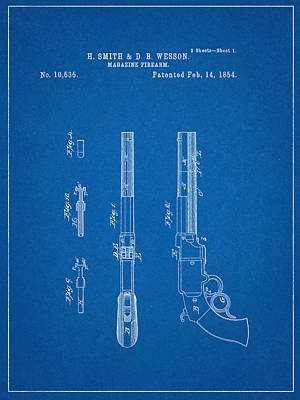 Smith And Wesson Patent Poster by Decorative Arts
