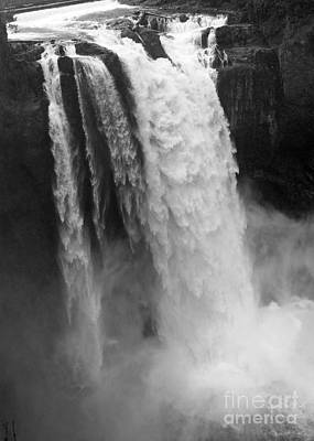 Snoqualmie Falls - Black And White Poster by Carol Groenen