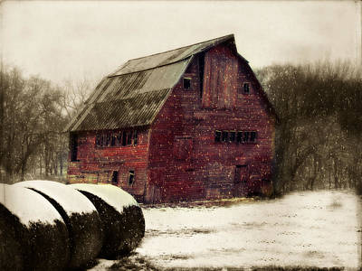 Snow Bales Poster by Julie Hamilton