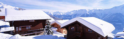 Snow Covered Chapel And Chalets Swiss Poster by Panoramic Images