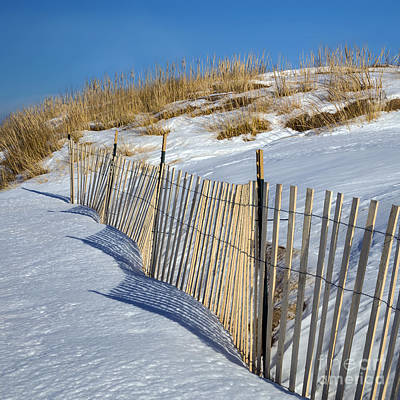 Snow Covered Dunes Poster by Twenty Two North Photography