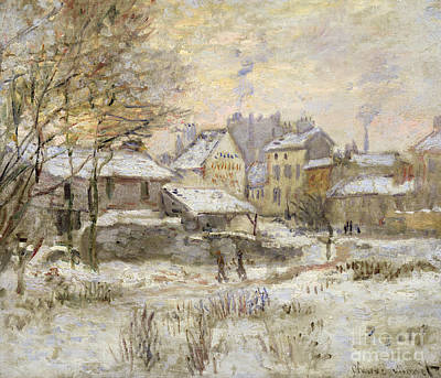Snow Effect With Setting Sun Poster by Claude Monet