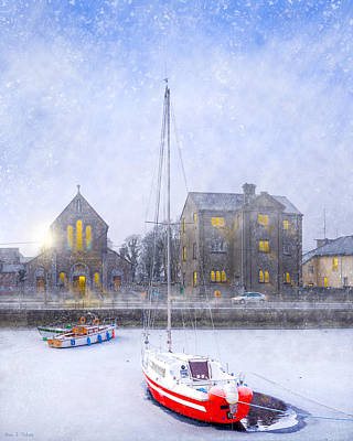 Snow Falling On The Claddagh Church - Galway Poster by Mark E Tisdale