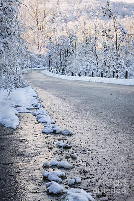 Snow On Winter Road Poster by Elena Elisseeva