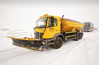 Snow Plough On The Road Poster by Ashley Cooper
