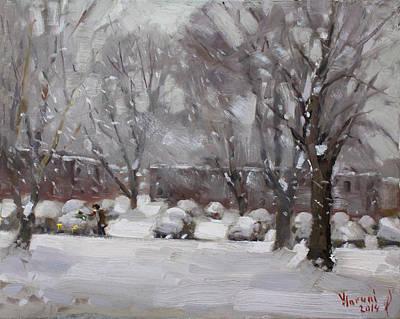 Snowfall In Royal Park Apartments Poster by Ylli Haruni