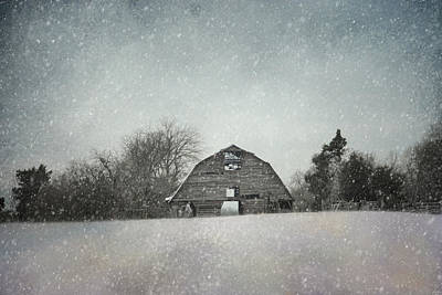 Snowing At The Old Barn Poster by Jai Johnson