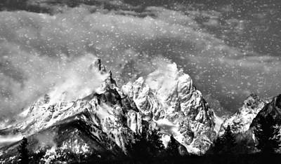 Snowing In The Tetons Poster by Dan Sproul