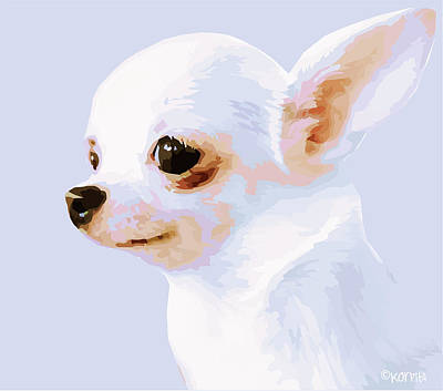 Snowman - White Chihuahua Poster by Rebecca Korpita