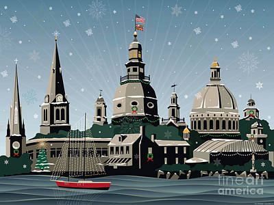 Snowy Annapolis Holiday Poster by Joe Barsin