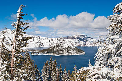 Snowy Crater - Crater Lake In Oregon Poster by Jamie Pham