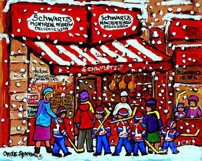 Snowy Day Montreal Paintings Schwarts Deli Smoked Meat After The Hockey Game Carole Spandau Art Poster by Carole Spandau