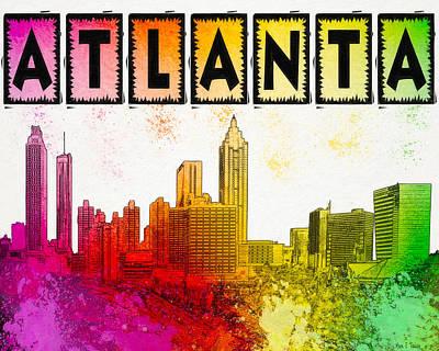 So Atlanta - Colorful Skyline Poster by Mark E Tisdale