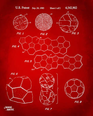 Soccer Ball Construction Artwork - Red Poster by Nikki Marie Smith