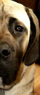 Soft Love - Mastiff Dog Art By Sharon Cummings Poster by Sharon Cummings