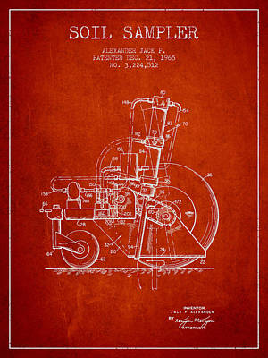 Soil Sampler Machine Patent From 1965 - Red Poster by Aged Pixel