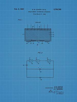 Solar Panel Blueprint Patent Poster by Dan Sproul