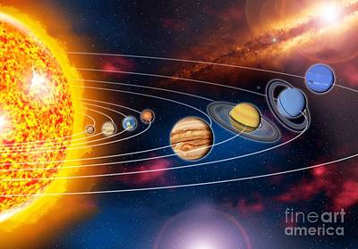 Solar System Planets Poster by Jos� Antonio Pe�as