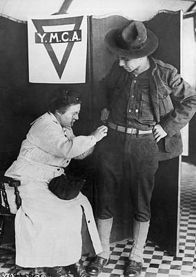 Soldier's Stitch In Time Poster by Underwood Archives