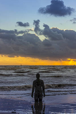 Solitary Iron Man At Crosby Beach Poster by Paul Madden