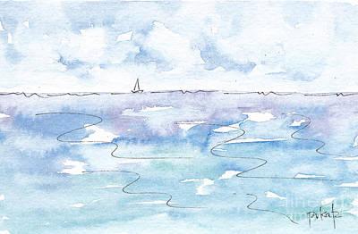 Solo Sailboat Cloudy Skies Poster by Pat Katz