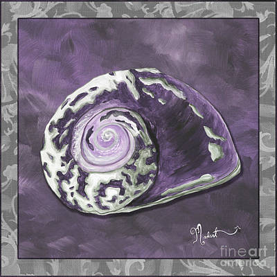 Sophisticated Coastal Art Original Sea Shell Painting Purple Royal Sea Snail By Madart Poster by Megan Duncanson