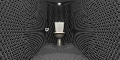 Soundproof Toilet Cubicle Poster by Allan Swart