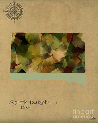 South Dakota State Map Poster by Bri B