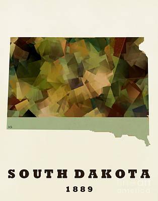 South Dakota State Map Modern Poster by Bri B