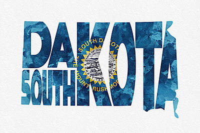 South Dakota Typographic Map Flag Poster by Ayse Deniz