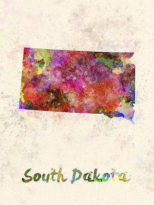 South Dakota Us State In Watercolor Poster by Pablo Romero