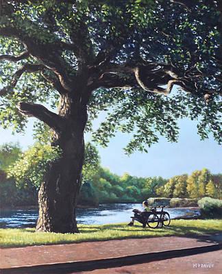 Southampton Riverside Park Oak Tree With Cyclist Poster by Martin Davey