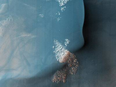 Southern Hemisphere Crater With Dune Field In Mars Poster by Celestial Images