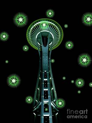 Space Needle In Green 2 Poster by Chalet Roome-Rigdon