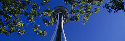 Space Needle Maple Trees Seattle Center Poster by Panoramic Images