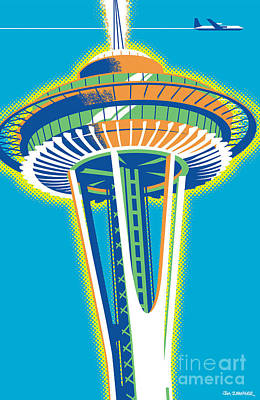 Space Needle Pop Art Poster by Jim Zahniser
