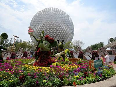 Spaceship Earth And Flower Garden Poster by Zina Stromberg