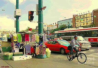 Spadina Street Vendor Chinatown Cyclists Cable Cars And Cabs Cityscapes Toronto Art Carole Spandau Poster by Carole Spandau