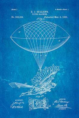 Spalding Flying Machine Patent Art 1889 Blueprint Poster by Ian Monk
