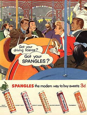 Spangles 1950s Uk Sweets Poster by The Advertising Archives
