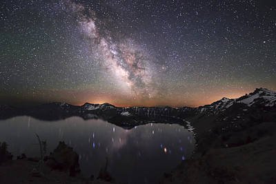 Crater Lake Twilight Poster featuring the photograph Sparkling Night In Crater Lake by Yoshiki Nakamura