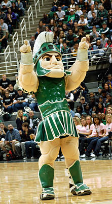 Sparty At Basketball Game  Poster by John McGraw