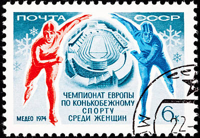 Speed Skating Man And Woman In The Almaty Ice Rink Poster by Jim Pruitt