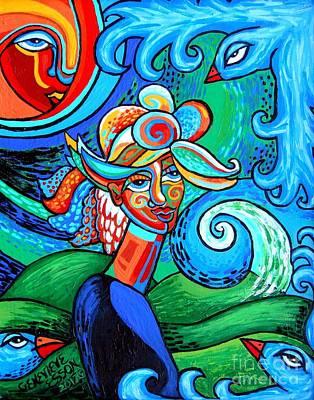 Spiral Bird Lady Poster by Genevieve Esson