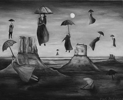 Spirits Of The Flying Umbrellas Bw Poster by Leah Saulnier The Painting Maniac
