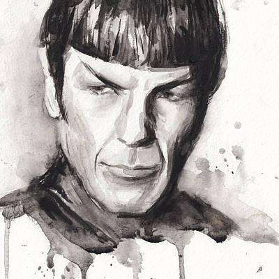 Spock Portrait Watercolor Star Trek Fan Art Poster by Olga Shvartsur