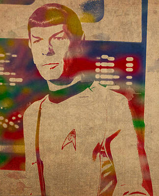 Spock Star Trek Leonard Nimoy Watercolor Portrait On Worn Distressed Canvas Poster by Design Turnpike