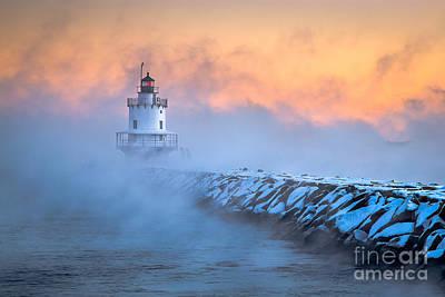 Spring Point Ledge Sea Smoke Poster by Benjamin Williamson